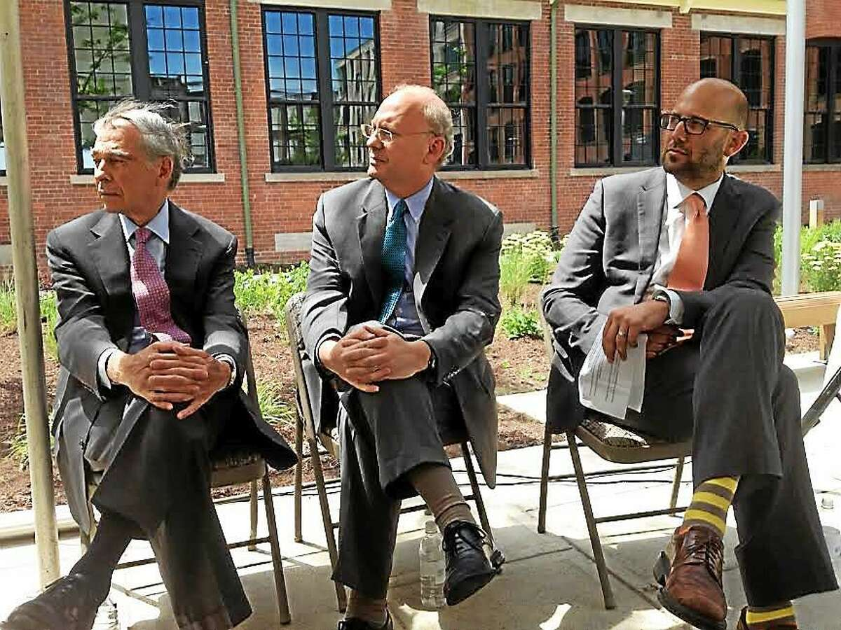 Left to right: Bruce Alexander, Yale vice president; Matthew Nemerson, economic development administrator for New Haven and Abe Naparstek of Forest City development at press conference at Winchester Lofts.