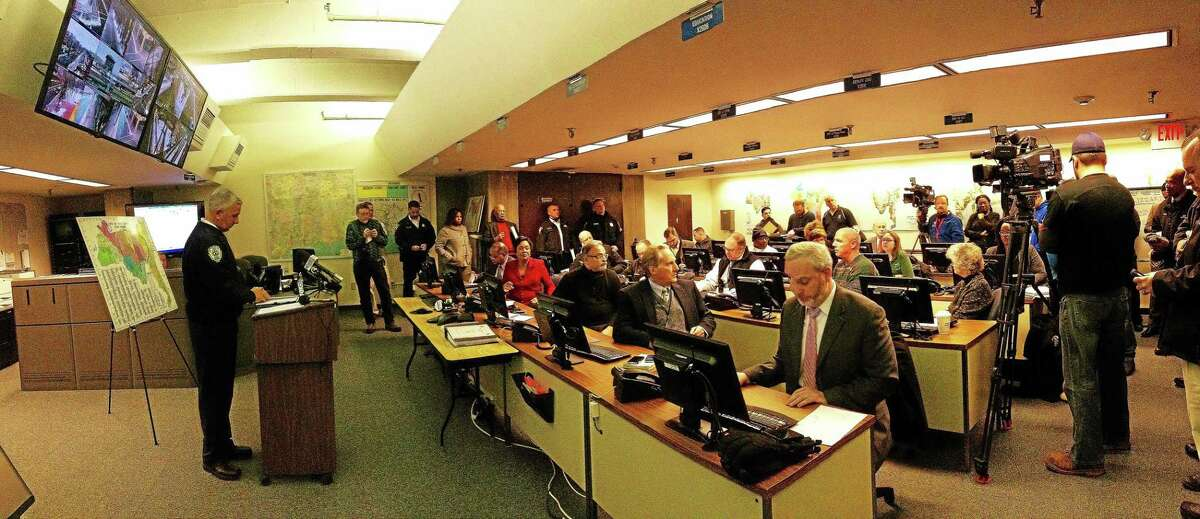 City department heads met Monday morning inside the Emergency Operations Center to announce how they would be responding to a storm expected to dump two feet of snow on the region and produce winds approaching 60 mph. (Evan Lips - New Haven Register)