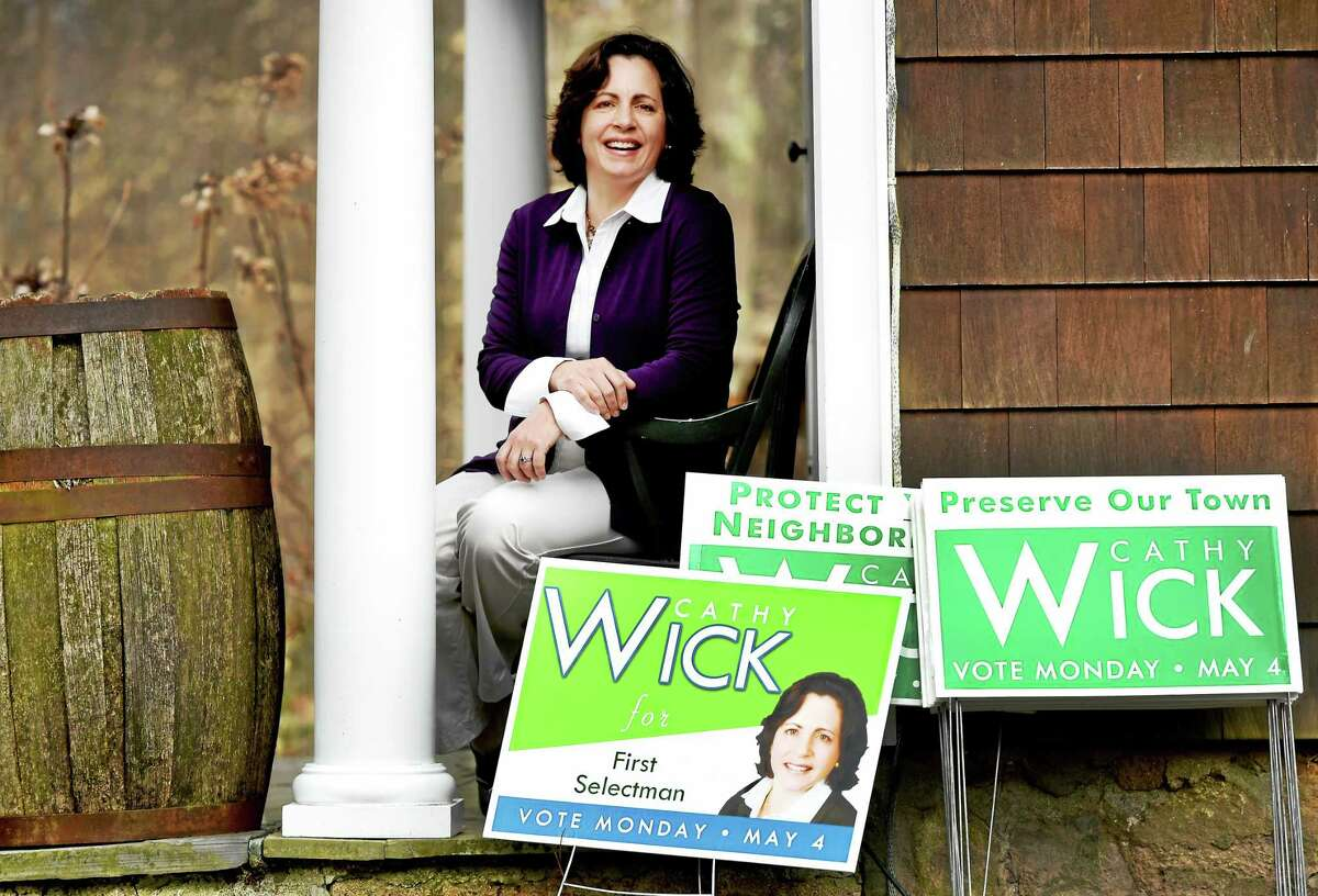 Cathy Wick, Republican candidate for Woodbridge First Selectman at her home. Wick is challenging incumbent Ellen Scalettar. Tuesday, April 14, 2015.