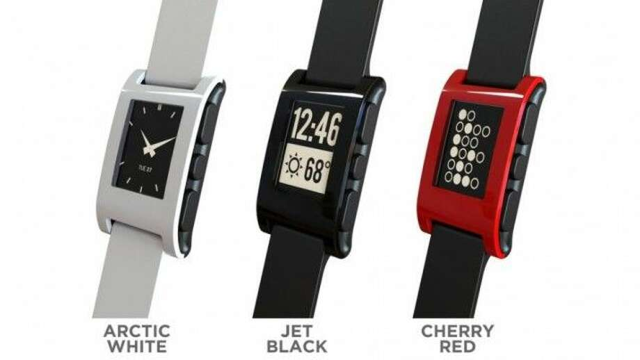 """Apple may be working on an """"iWatch,"""" similar to the recently-released Pebble Watch shown here. The $150 Pebble is capable of displaying notifications and other information from your phone to your wrist. Apple is rumored to working on a similar gadget that could be announced this fall. Photo: Courtesy"""