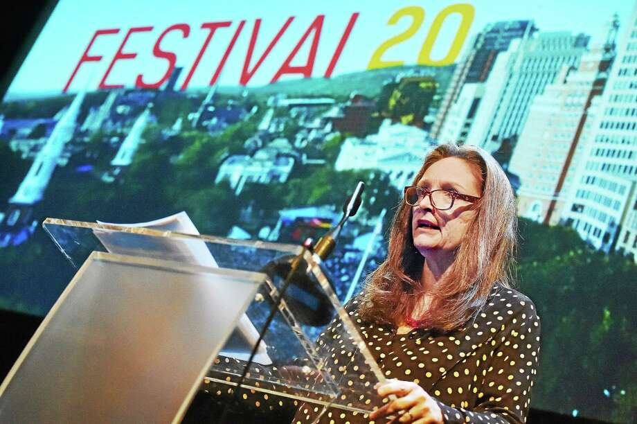 International Festival of Arts & Ideas Executive Director Mary Lou Aleskie speaks about this year's lineup Wednesday at the Iseman Theater on Chapel Street in New Haven. Photo: Catherine Avalone — New Haven Register   / New Haven RegisterThe Middletown Press