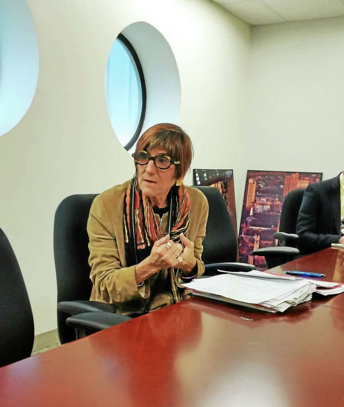 (Shahid Abul-Karim- New Haven Register) U.S. Rep. Rosa DeLauro, D-3, who is seeking reelection, speaks to the New Haven Register editorial board.