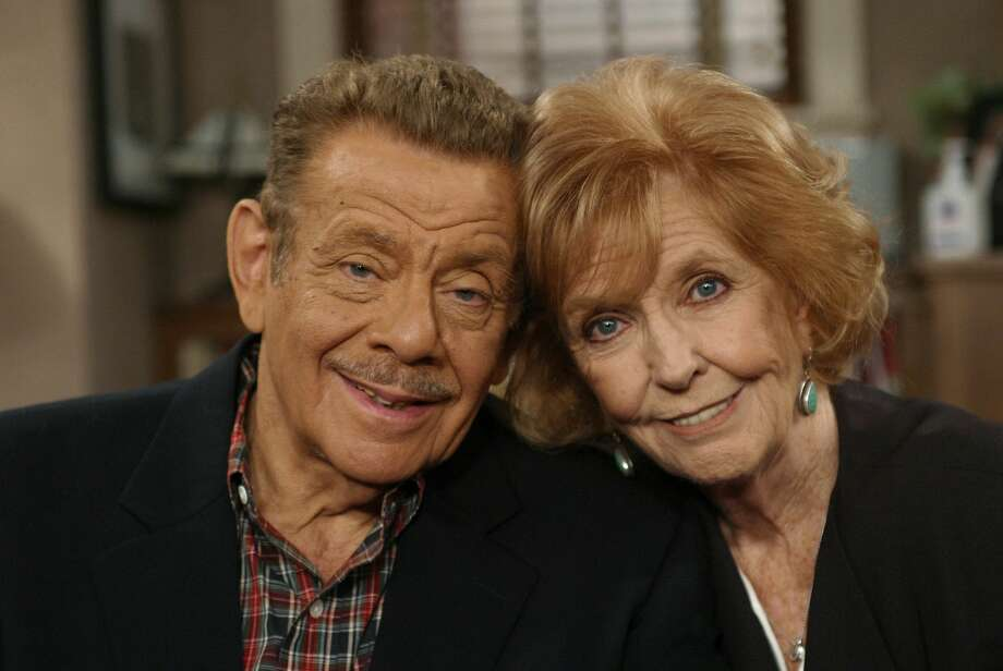 """FILE- In this Nov. 6, 2003, file photo, Jerry Stiller, left, and his wife Anne Meara pose on the set of """"The King of Queens,"""" at Sony Studio in Culver City, Calif. Meara, whose comic work with Stiller helped launch a 60-year career in film and TV, has died. She was 85. Jerry Stiller and son Ben Stiller say Meara died Saturday, May 23, 2015. (AP Photo/Stefano Paltera, File) Photo: AP / AP"""