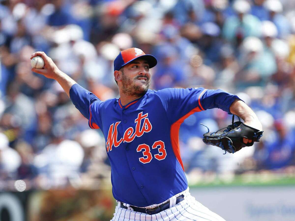 New York Mets starter Matt Harvey works in the first inning of a spring training game against the New York Yankees on Sunday in Port St. Lucie, Fla.