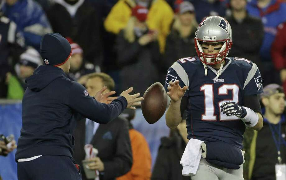 New England Patriots quarterback Tom Brady has a ball tossed to him during warmups before the AFC championship game on Sunday against the Indianapolis Colts in Foxborough, Mass. Photo: Matt Slocum — The Associated Press   / AP