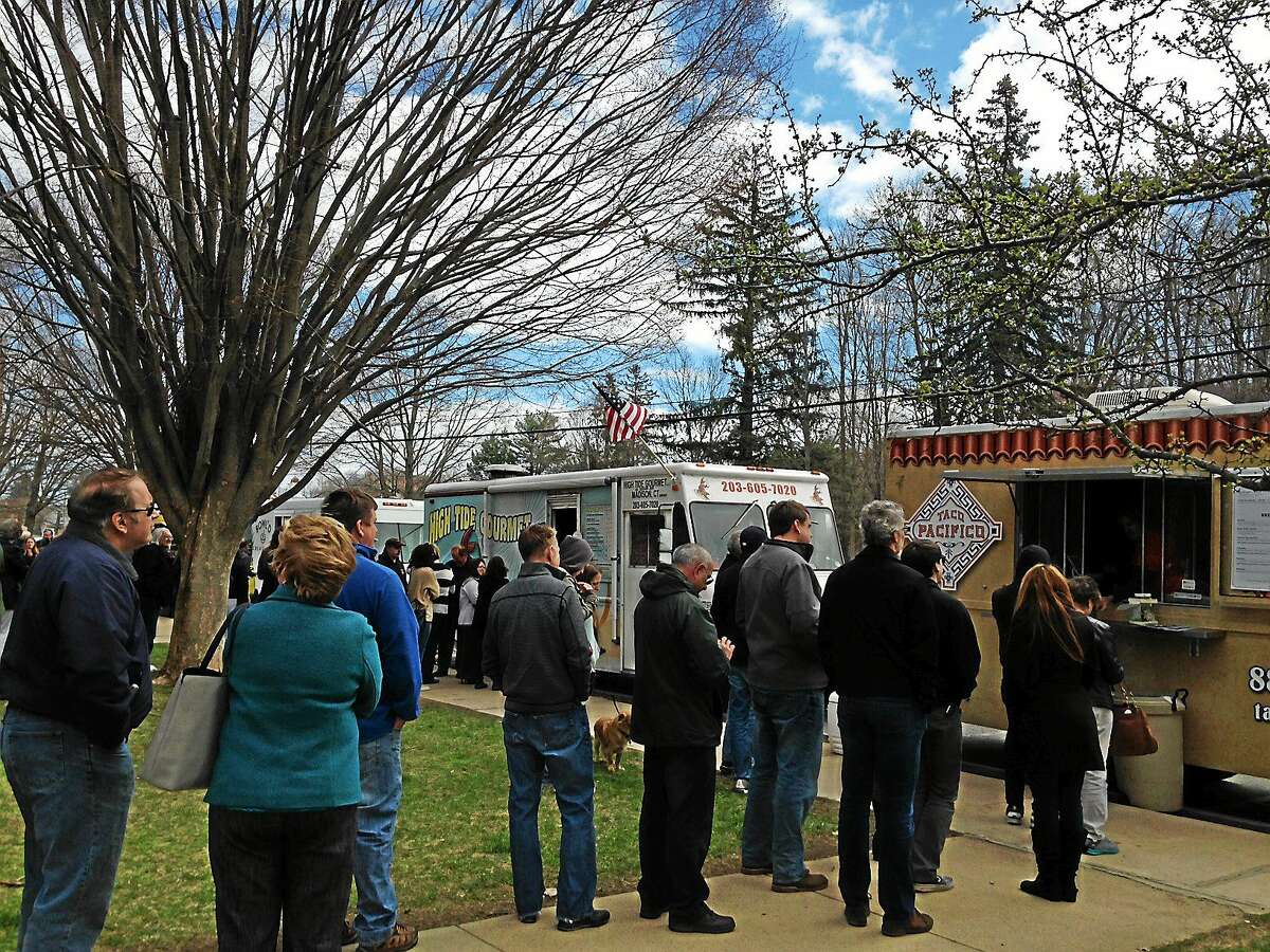 Taco Pacifico draws a crowd during Food Truck Appreciation Day in Madison Friday.