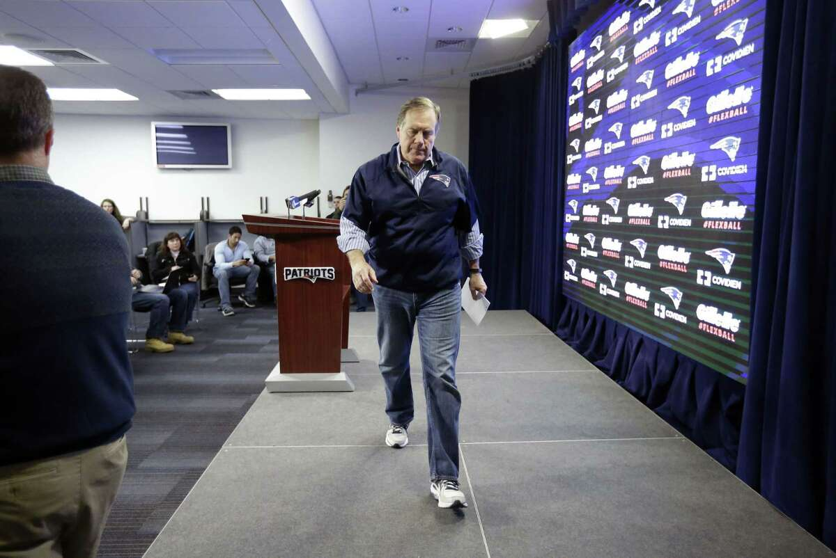 "New England Patriots head coach Bill Belichick leaves the podium after speaking at a news conference Saturday at Gillette Stadium in Foxborough, Mass., where he defended the way his team preps its game balls. Whatever happened, and whatever is going to happen, Register sports columnist Chip Malafronte just wants this episode of ""CSI: PSI"" to be over soon."