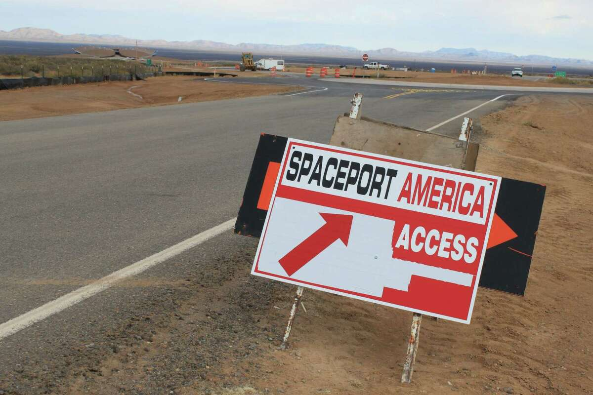 A construction sign directs vehicles through roadwork at the entrance of Spaceport America in Upham, New Mexico.