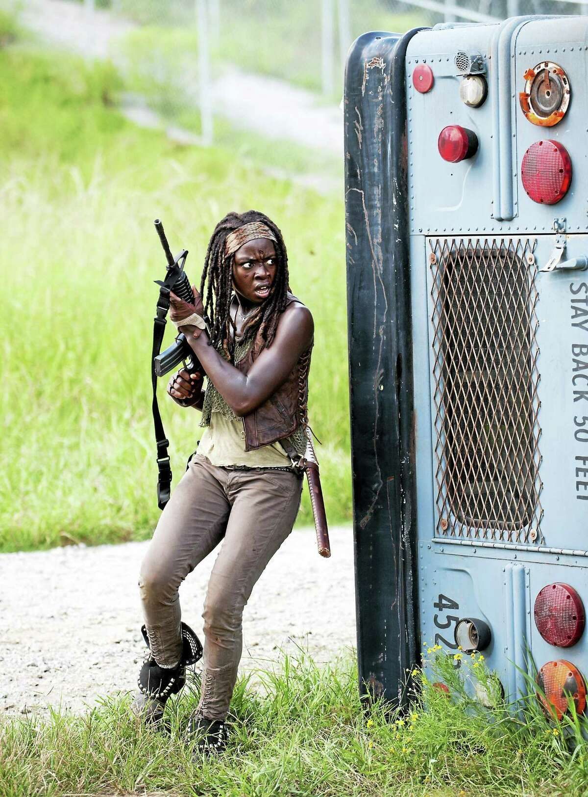 """Walking Dead"" fans know Gurira as Michonne. The AMC series resumes Feb. 8."