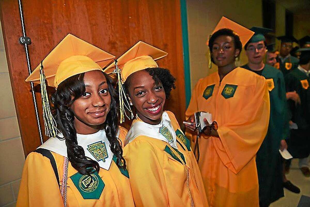 Five hundred seniors received their diplomas Monday from Hamden High School.