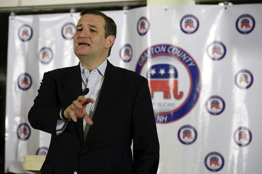 U.S. Sen. Ted Cruz, R-Texas, speaks at the Grafton County Republican Committee's Lincoln-Reagan Day Dinner at the Indianhead Resort in Lincoln, N.H., on Sunday, March 15. Photo: AP Photo   / The Caledonian-Record