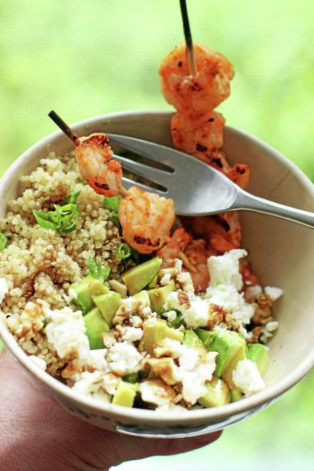 Quinoa Shrimp Salad With Avocado and Pomegranate Molasses Photo: Matthew Mead — The Associated Press   / FR170582 AP