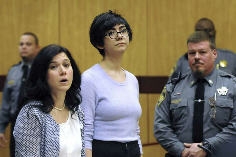 Wesleyan University sophomore and neuroscience major Rama Agha Al Nakib, 20, stands during her arraignment at Middletown Superior Court on Feb. 25 for possession of controlled substances and other charges. Photo: AP Photo   / Pool The Hartford Courant