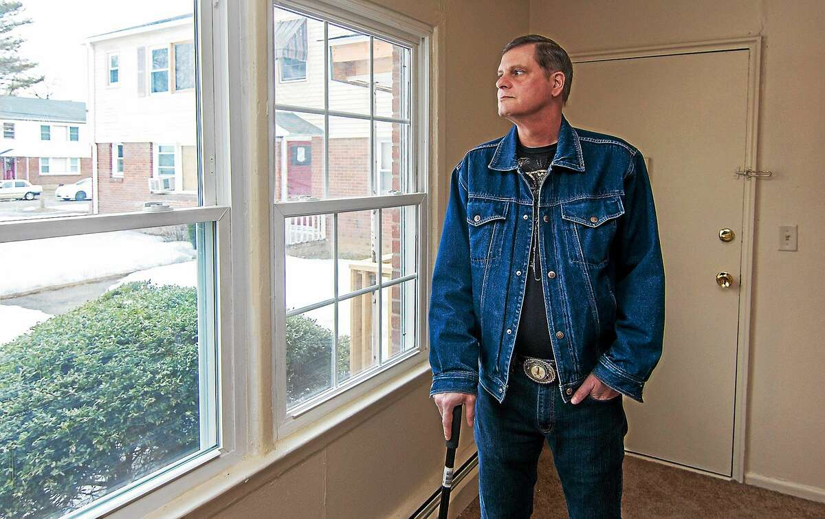 WEST HAVEN, CT March 13, 2015 Jeffrey Murdock looks out the window of his West Haven apartment he recently moved into after serving time in Connecticut prisons. Murdock is one of 48 incarcerated veterans, who have been have been helped since June by the VA jail release program.