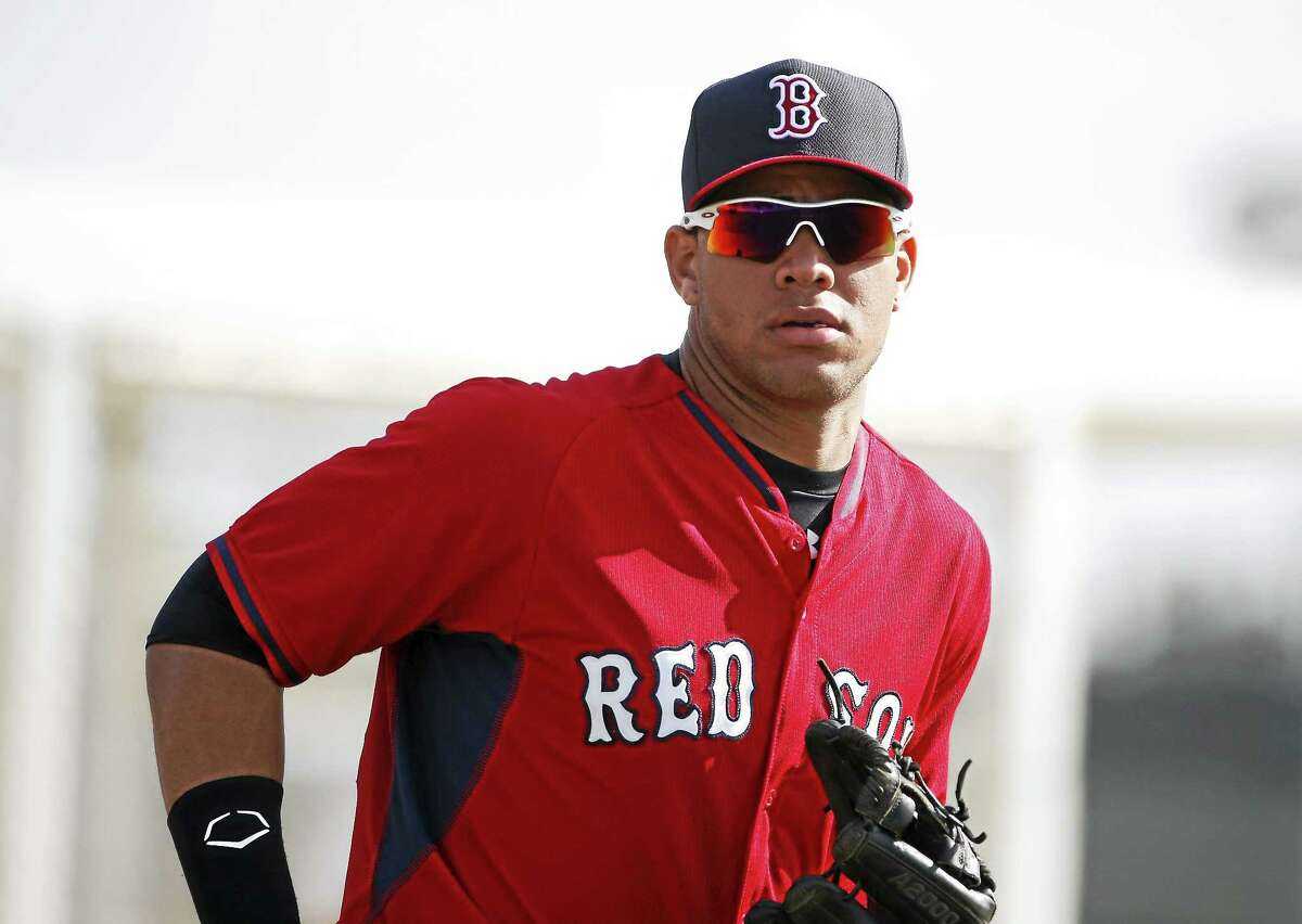 Boston Red Sox minor leaguer Yoan Moncada practices during spring training in March in Fort Myers Fla.