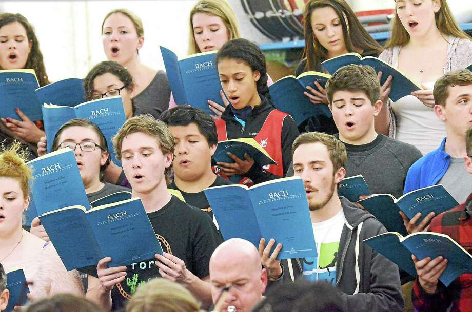 The Branford High School Concert Choir rehearses. Photo: Contributed