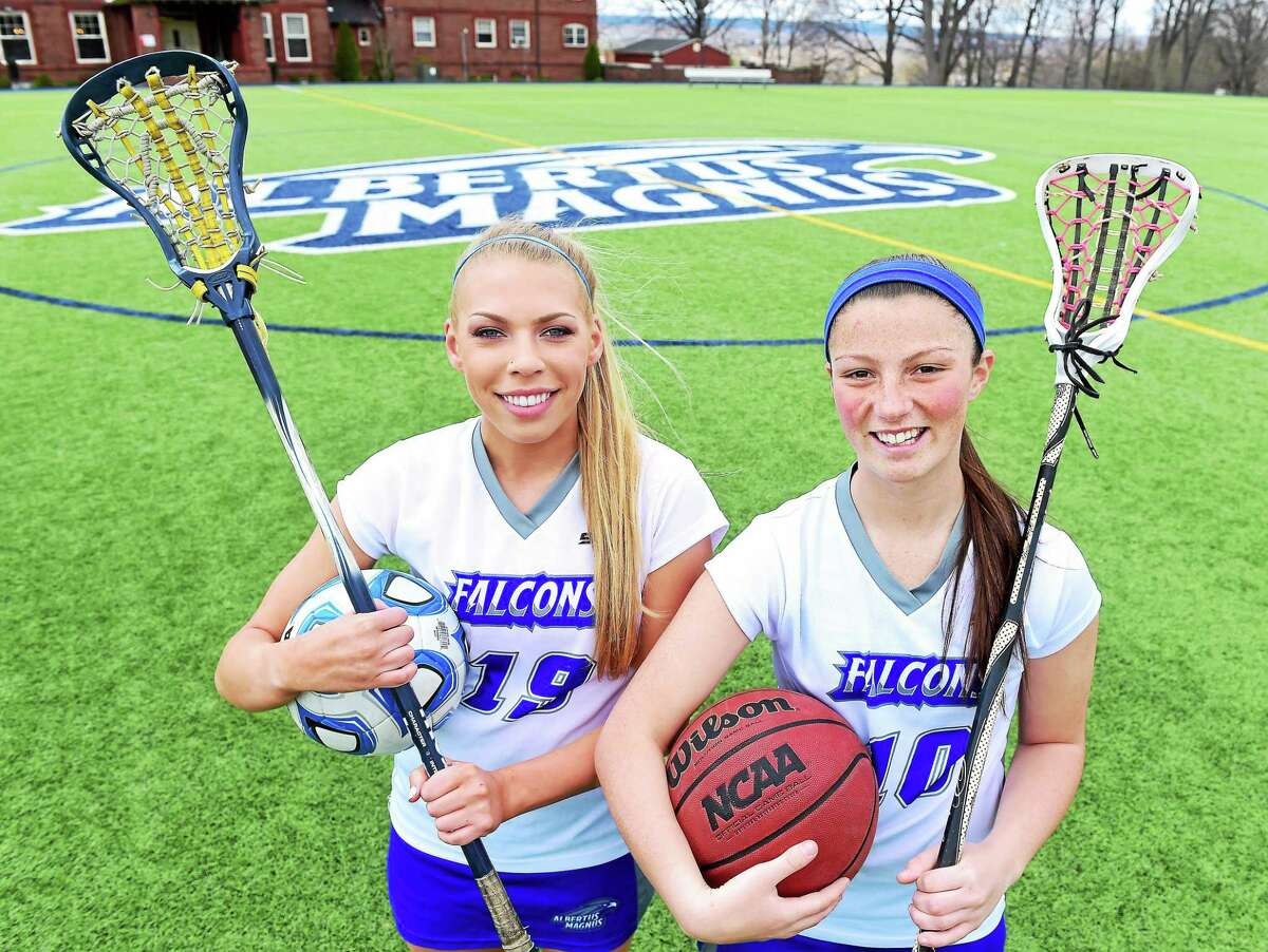 Albertus Magnus three-sport freshmen athletes Victoria Lavery, left, and Angelina Piccirillo don't exactly have a lot of free time.