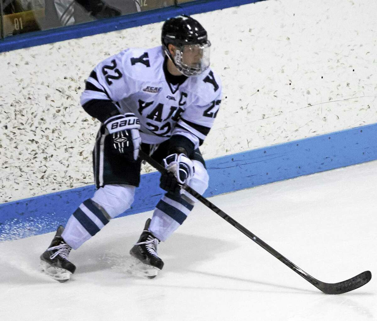 Yale senior captain defenseman Tommy Fallen leads a Bulldogs defense which allows just 1.53 goals per game, tops in the nation. He is also the active leader on the Bulldogs' career points list.
