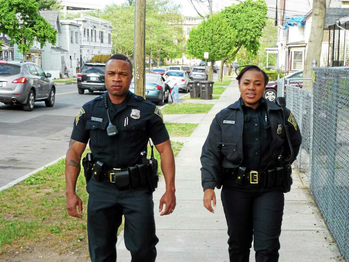 Officer Lesley Billingslea and Officer Cherelle Carr on their walking beat in New Haven.
