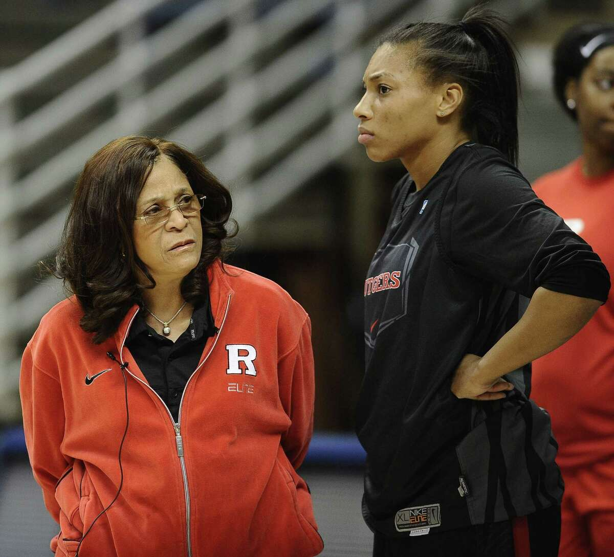Rutgers head coach C. Vivian Stringer, left, stands with Betnijah Laney during practice on Friday in Storrs.