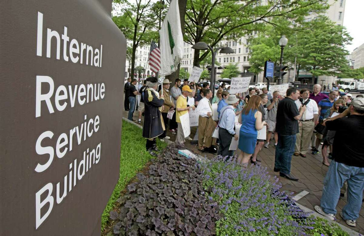 Supperters gather for a rally outside the IRS headquarter in Washington in this 2013 file photo.