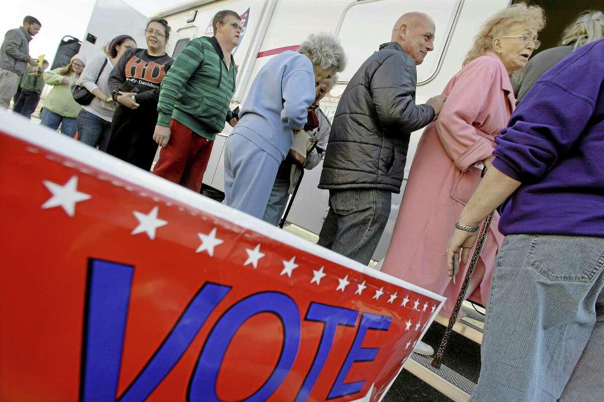A line to vote is seen in this Nov. 5, 2012, file photo in Burlington, N.J.