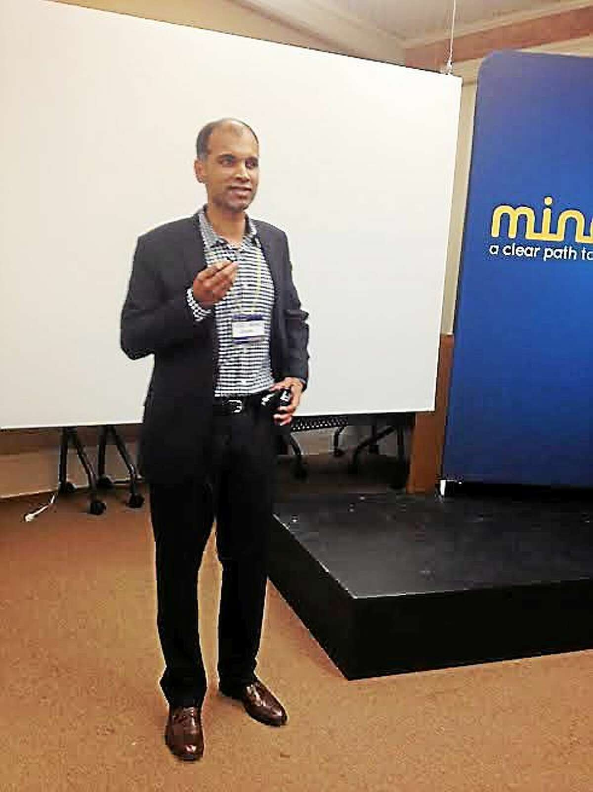 Dr. Vinod Srihari, psychiatrist and director of STEP, at The Grove Thursday to promote a mental health program.
