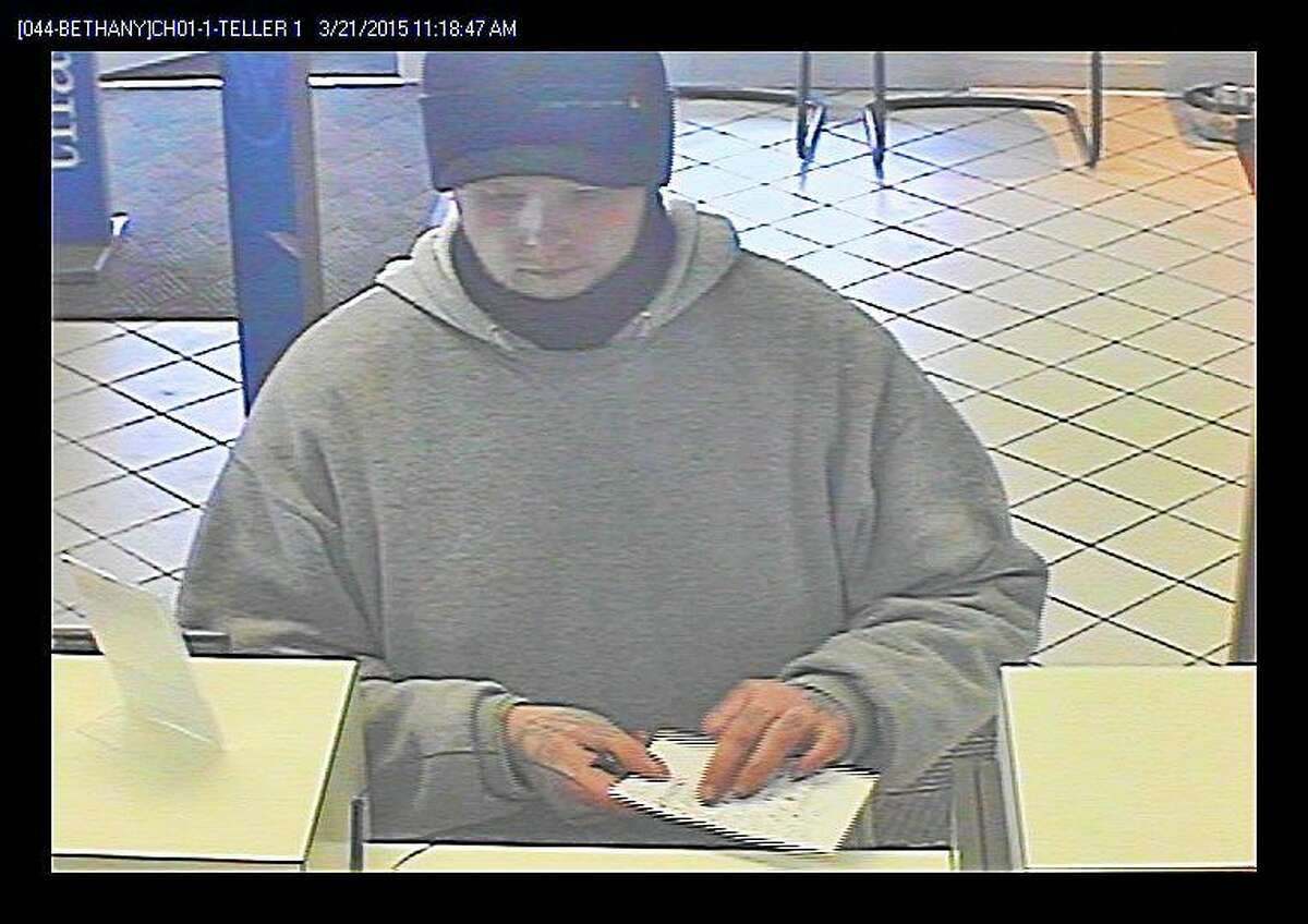 Photo from surveillance camera at Webster Bank on Amity Road in Bethany. Courtesy state police.