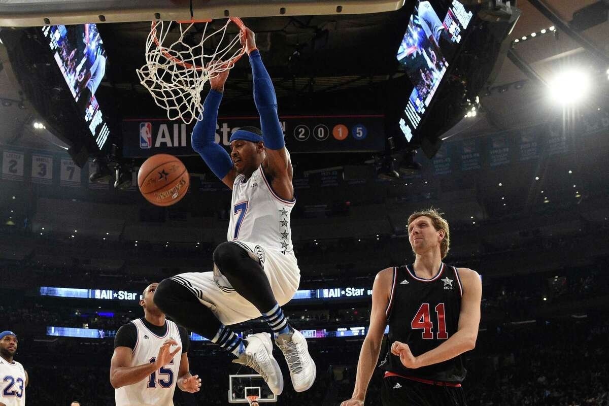 The East's Carmelo Anthony scores a basket during the second half of the NBA All-Star Game on Sunday in New York.