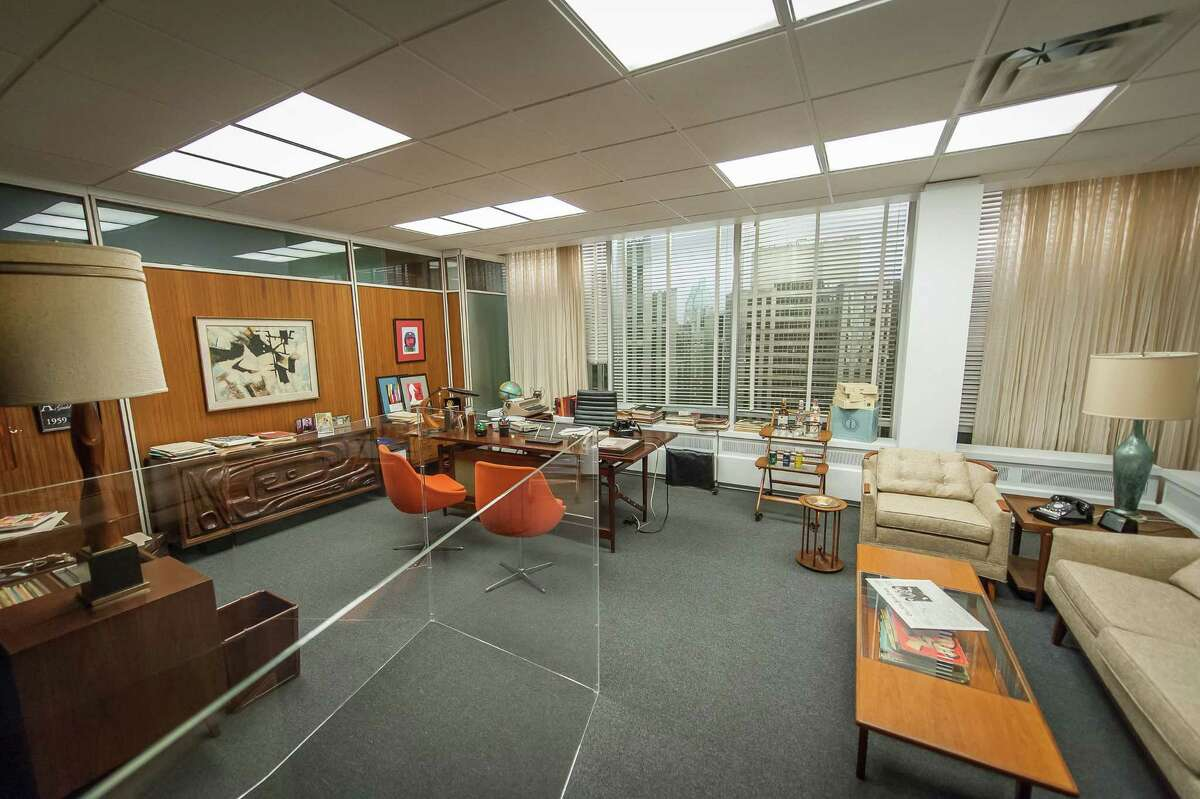"""The set for Don Draper's office, featured in seasons 4-6 of """"Mad Men,"""" is displayed in """"Matthew Weiner's Mad Men"""" at the Museum of the Moving Image in New York. The final episodes of the AMC series will begin on April 5."""