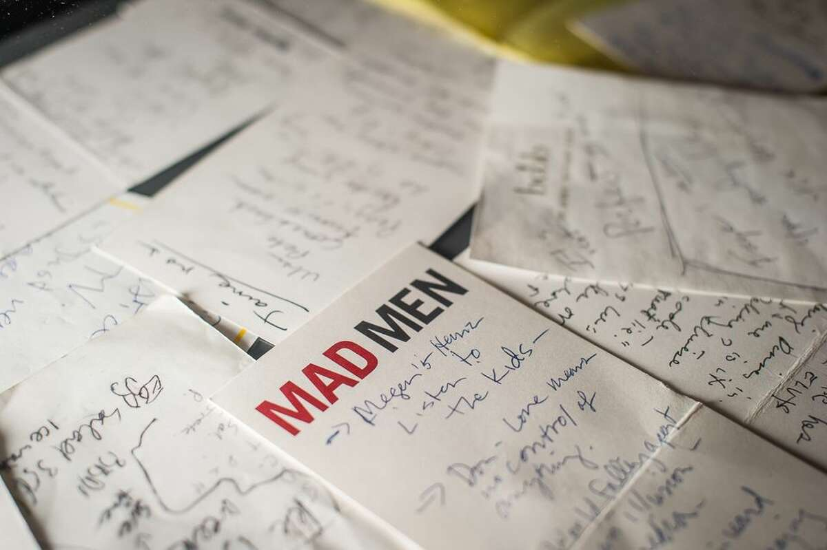 """Thanassi Karageorgiou - Museum of the Moving Image, AP Notes and storylines for """"Mad Men,"""" scribbled by Matthew Weiner, are displayed as part of the exhibition."""