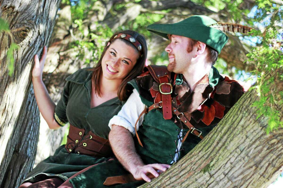 Dave Madeix of Belmont, Massachusetts, as Robin Hood and K. Bevyn Ayers of Boston as Maid Marion. The Robin Hood Springtime Festival debuts Saturday in North Haven.