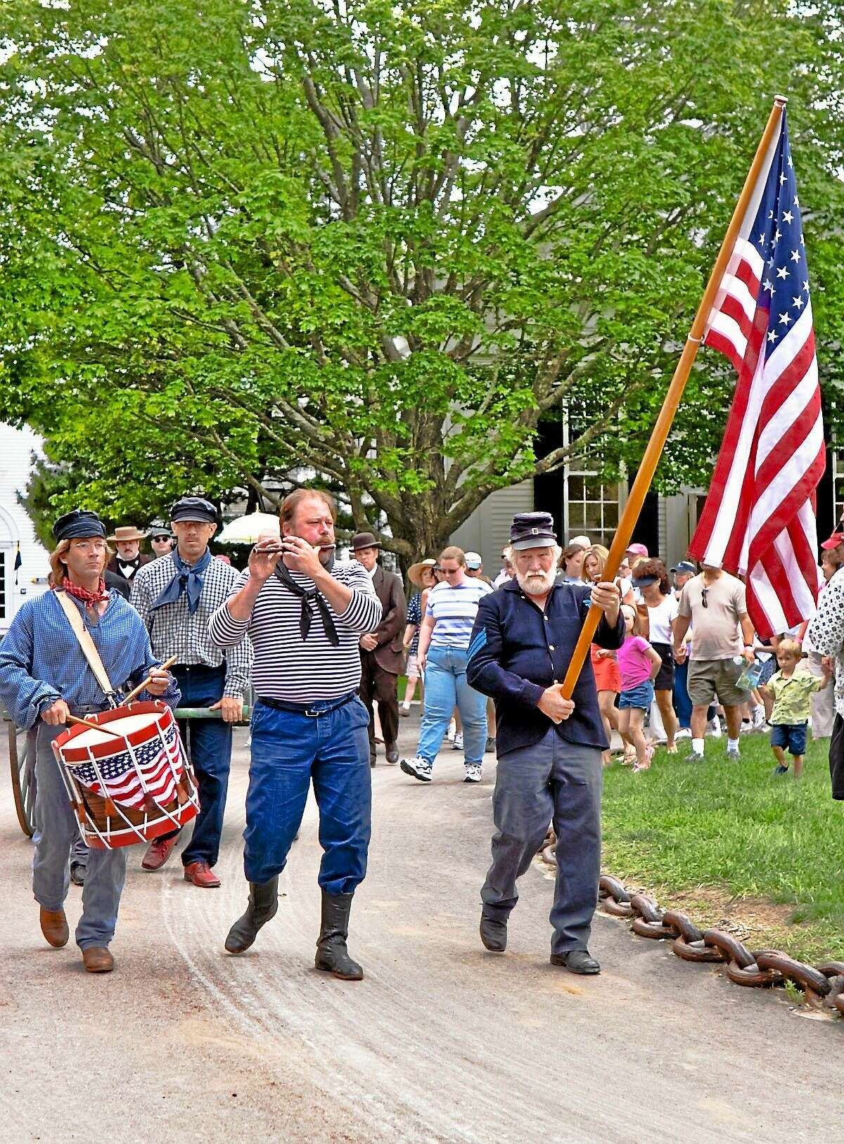 The Decoration Day procession at Mystic Seaport.
