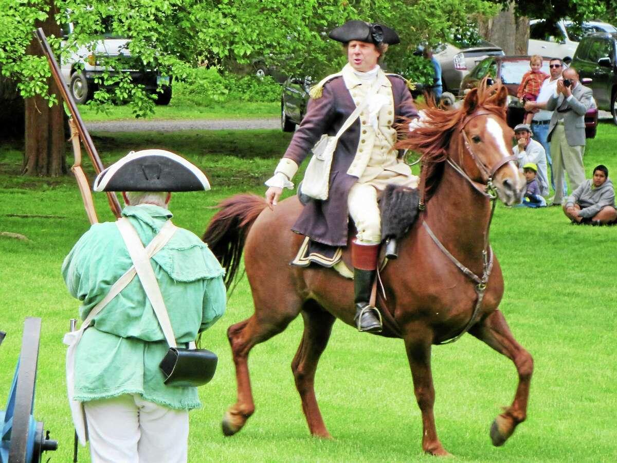 David Loda demonstrates his skills on horseback.