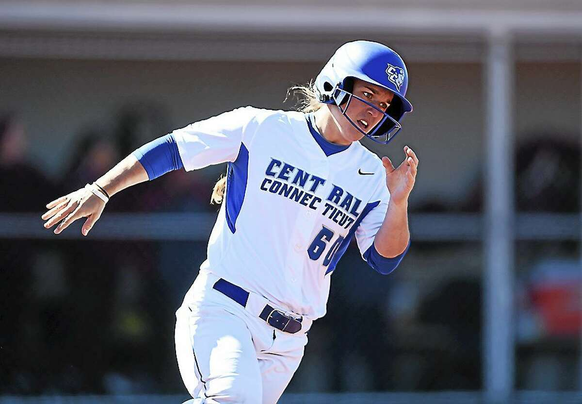 Photos courtesy of CCSU Athletics Kat Malcolm currently holds several CCSU batting records.