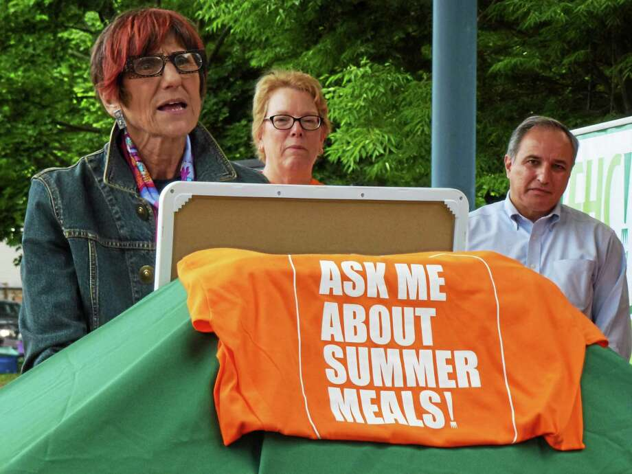 U.S. Congresswoman Rosa DeLauro, D-3, speaks during the Blitz kickoff at Goffe Street Park to provide summer meals for kids on Saturday, June 20, 2015. Photo: Ryan Flynn - New Haven Register