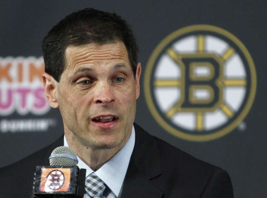 Boston Bruins general manager Don Sweeney speaks after being introduced Wednesday in Boston. Sweeney was elevated to general manager, taking over for his former boss, Peter Chiarelli, who was fired in April after the team missed the playoffs for the first time in eight years. Photo: Bill Sikes — The Associated Press   / AP