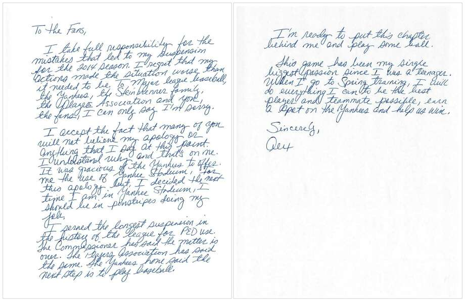 "This image issued by New York Yankees' Alex Rodriguez shows a two-page handwritten apology issued Tuesday, three days before the team opens spring training, addressed ""to the fans."" Photo: The Associated Press   / Alex Rodriguez"