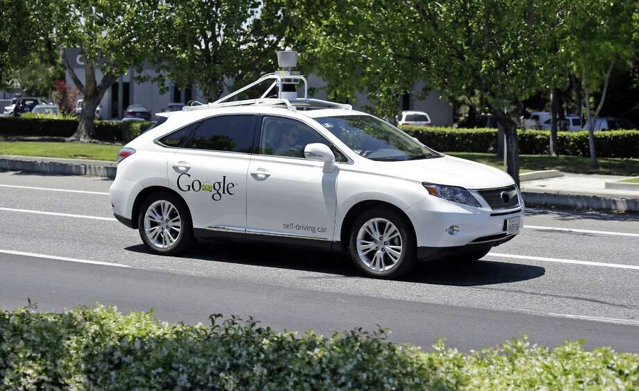 This May 13, 2014, file photo shows a Google self-driving Lexus at a Google event outside the Computer History Museum in Mountain View, Calif. Of the nearly 50 self-driving cars rolling around California roads and highways, four have gotten into accidents since September 2014. Photo: AP Photo   / AP