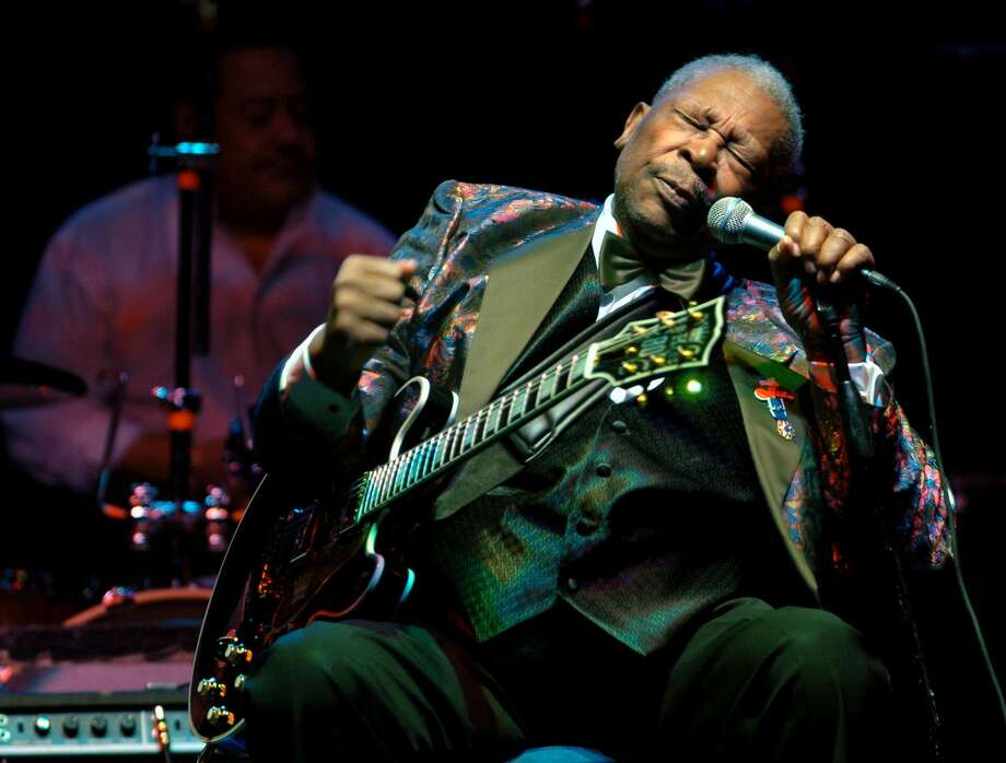 FILE - In this Feb. 16, 2007 file photo, B.B. King performs at the Wicomico Youth and Civic Center, in Salisbury, Md.  The body of blues legend B.B. King  will be flown on Wednesday, May 20, 2015, to Memphis, Tennessee, the place where a young King won the nickname Beale Street Blues Boy, then will return to the Mississippi Delta where his life and career began. King, whose scorching guitar licks and heartfelt vocals made him the idol of generations of musicians and fans while earning him the nickname King of the Blues, died Thursday, May 14, at home in Las Vegas. He was 89. Photo: (Matthew S. Gunby/The Daily Times Via AP) NO SALES / The Daily Times