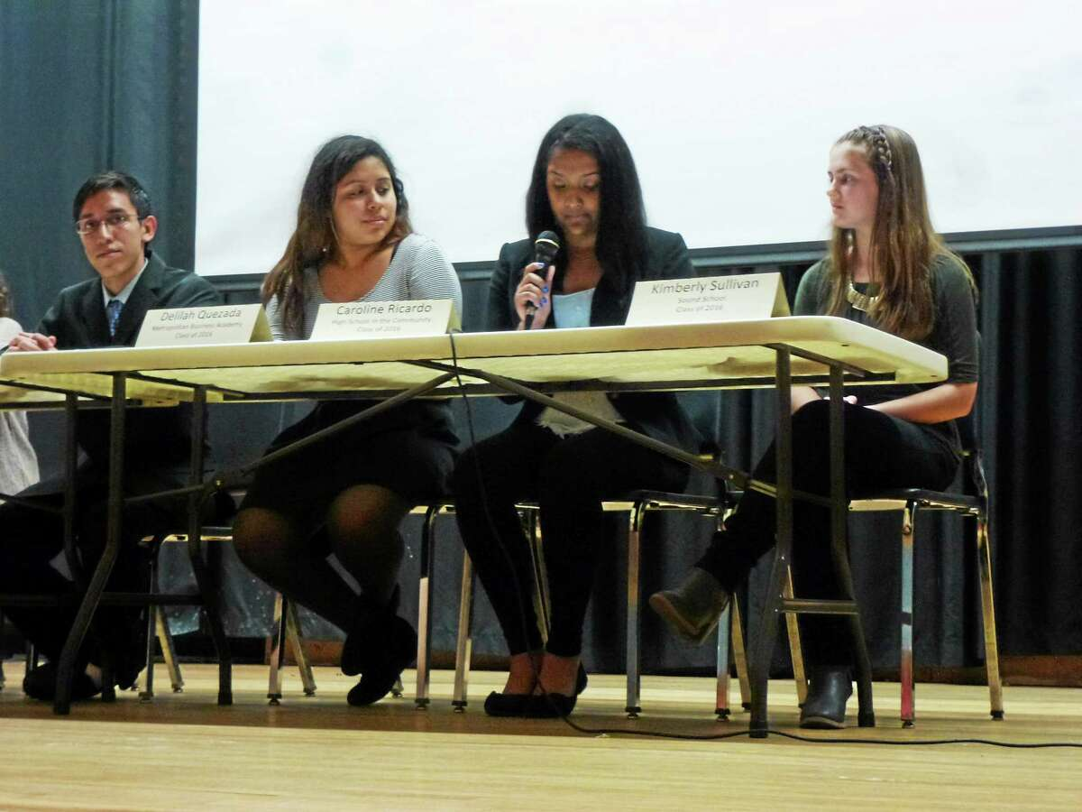 From left, Jesus Garzon, Delilah Quezada, Caroline Ricardo and Kimberly Sullivan during Tuesday's discussion on students running for the school board.