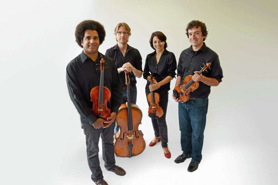 Yaira Matyakubova, second from right, and, from left, Colin Benn, Philip Boulanger and  Gregory Tompkins of the Haven String Quartet. Photo: Music Haven