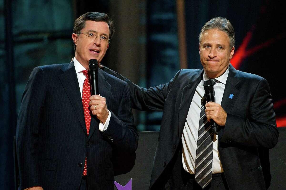 Stephen Colbert, left, and Jon Stewart in 2010.