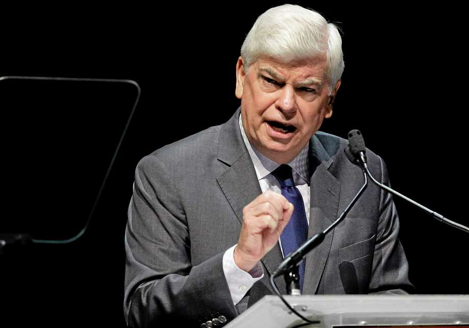 In this April 24, 2012, file photo, Motion Picture of Association of America of Chief Executive Chris Dodd speaks during his CinemaCon State of the Industry address in Las Vegas. Photo: AP Photo   / AP