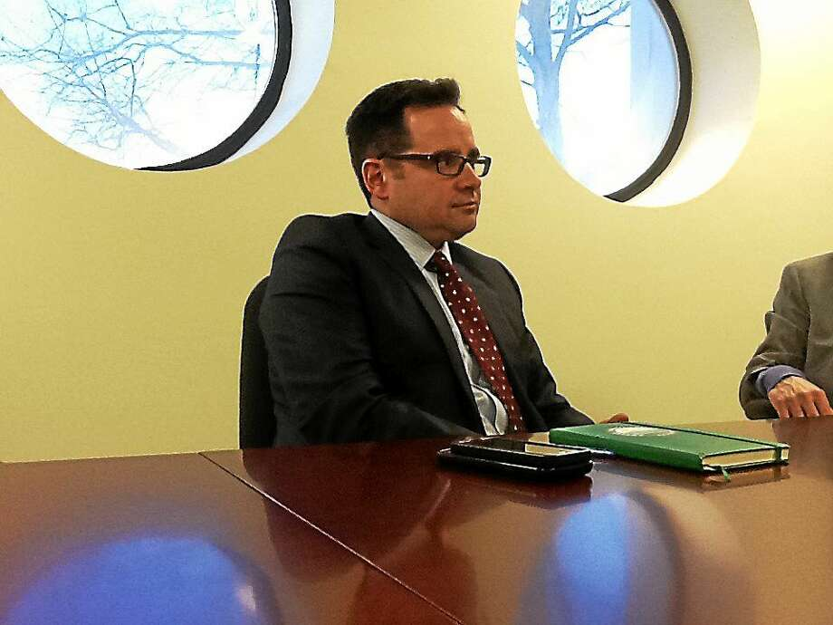 Connecticut Department of Energy and Environmental Protection Commissioner Robert Klee speaks with the New Haven Register editorial board Thursday. Photo: Helen Bennett — New Haven Register
