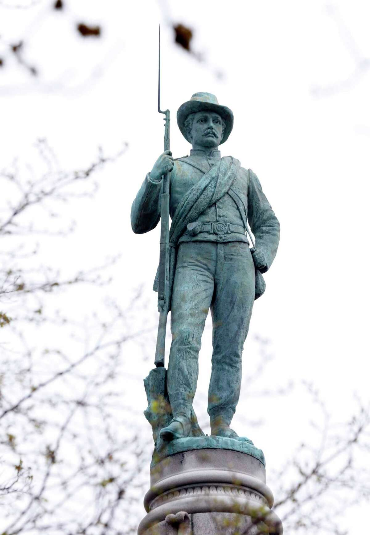 The Confederate Soldiers and Sailors Monument was dedicated May 30, 1894 on Libbie Hill terrace in Richmond, Va., Tuesday, April 14, 2015. Known as the ìSingle Soldier,î ìSilent Sentinelî or similar names depending on the locale, he tops many of the thousands of Civil War monuments to be found in more than 30 states. (AP Photo/Steve Helber)