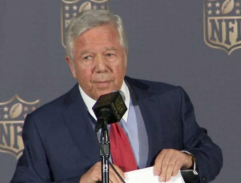 In this image provided by the NFL, New England Patriots owner Robert Kraft speaks at the NFL owners meetings in San Francisco on Tuesday. Photo: The Associated Press   / NFL