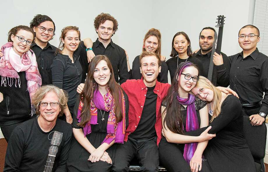 "Yale's ""Erismena"" cast and musicians include Grant Herreid, front from left, Courtney Sanders, Jeremy Weiss, Ariadne Lih and Deanna Brandell, and, back row from left, Caroline Diehl, Jacob Reed, Jessica Miller, Sam Dealy, Kierstin Daviau, Jessica Wang, Arash Noori and Xiao Shi. Photo: Lisa Daly"