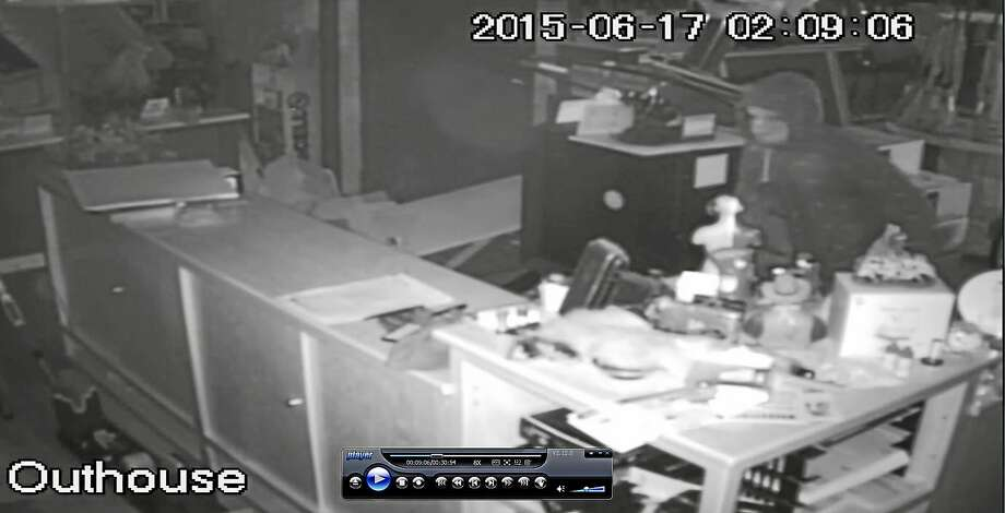A surveillance image shows one of the suspects involved in a burglary at Woodbridge Firearms Trading Post on Selden Street early Wednesday. Photo: Woodbridge Police Department