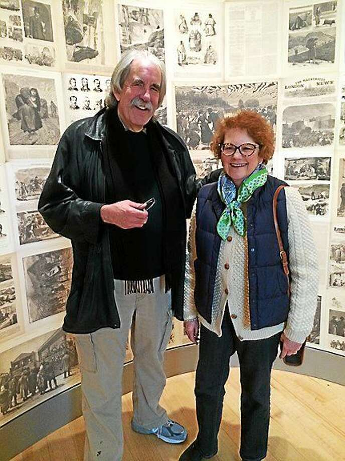 Kathleen O'Grady-Allison of North Haven, and her husband Rick Allison, Tuesday at Ireland's Great Hunger Museum. Photo: Jason Diaz — For The Register